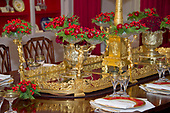 "The 2017 White House Christmas decorations, with the theme ""Time-Honored Traditions,"" which were personally selected by first lady Melania Trump, are previewed for the press in Washington, DC on Monday, November 27, 2017.  Pictured are place settings and decorations in the China Room.<br /> Credit: Ron Sachs / CNP"
