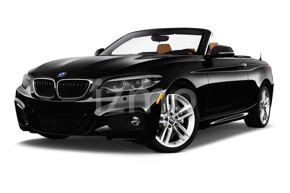Stock pictures of low aggressive front three quarter view of a 2018 BMW 2 Series M-Sport 2 Door Convertible