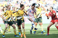 9th November 2019; Bankwest Stadium, Parramatta, New South Wales, Australia; International Womens Friendly Football, Australia versus Chile; Camila Saez of Chile jumps between Chloe Logarzo and Lydia Williams of Australia to win the header and score to make it 2-1 in the 89th minute - Editorial Use