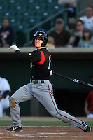 Cory Spangenberg #19 of the Lake Elsinore Storm bats against the Lancaster JetHawks at Clear Channel Stadium on May 11, 2012 in Lancaster,California. (Larry Goren/Four Seam Images)
