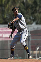 Tyson Miller of the Cal Baptist Lancers pitches against the Cal State Dominguez Hills Toros at Toro Field on February 11, 2016 in Carson, California. Cal Baptist defeated Cal State Dominguez Hills, 3-0. (Larry Goren/Four Seam Images)
