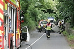 A single vehicle accident outside the Drogheda Grammer School on the Marsh Road left two passengers in Hospital and the Driver arrested at the scene..Two Units of Drogheda Fire and Rescue service and Two ambulance from Drogheda attended the scene..one of the occupants of the vehicle believed to be female was being carried in the rear of the Van when it crashed, she has sustained some very severe injuries after being tossed around the back of the van with the spare wheel, the front seat passanger was also removed to Our lady of Lourdes hospital in Drogheda...Photo: Newsfile/Fran Caffrey....