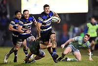 Matt Banahan of Bath Rugby takes on the Newcastle Falcons defence. Anglo-Welsh Cup match, between Bath Rugby and Newcastle Falcons on January 27, 2018 at the Recreation Ground in Bath, England. Photo by: Patrick Khachfe / Onside Images
