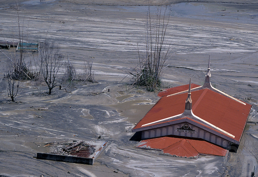 A church is covered by lahar flow after Mt Pinatubo Volcano eruption,Philippines up to this day the Church is still buried