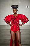 Model walks runway in an outfit from the TVL collection for Free Fashion Week at Cope NYC, on October 10, 2019, during Fashion Week Brooklyn Spring Summer 2020.