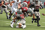 Peyton Pelluer (47) and Parker Henry (29) do a double-team take down of Jamal Morrow (25) during the annual Washington State Cougar spring game, the Crimson and Gray game, at Joe Albi Stadium in Spokane, Washington, on April 23, 2016.