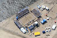 4415/Beachvolleyball:EUROPA, DEUTSCHLAND, HAMBURG, 28.05.2005: Beachvolleyball Master Turnier, Zurich, Hafencity, Strandkai, Freibad, Freizeitbad, Luftbild, Luftansicht