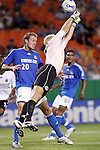Oct 05 2007:  Kevin Hartman (1) goalie of the Wizards makes another save while teammate Tyson Wahl (20) covers the play.  The MLS Kansas City Wizards tied the visiting D.C.United 1-1 at Arrowhead Stadium in Kansas City, Missouri, in a regular season league soccer match.