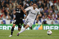 08.04.2012 SPAIN -  La Liga matchday 32th  match played between Real Madrid CF vs Valencia (0-0) and falls to 4 points behind Barcelona, at Santiago Bernabeu stadium. The picture show Alberto Facundo Costa (Midfielder of Valencia) and  Alvaro Arbeloa Coca (Spanish defender of Real Madrid)
