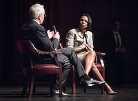 "Former U.S. Secretary of State & National Security Advisor and professor of political science at Stanford University Condoleezza Rice speaks in Thorne Hall as part of a moderated discussion with Dr. Coit ""Chip"" Blacker '72 on Monday, April 18, 2016. Dr. Rice spoke at Oxy and met with students, faculty and guests and is Oxy's 2016 Jack Kemp '57 Distinguished Lecturer.<br /> (Photo by Marc Campos, Occidental College Photographer)"