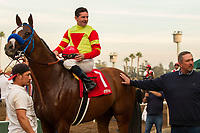ARCADIA, CA  DECEMBER  30: #1 Silent Bird, ridden by Kent Desormeaux, in the winners circle after winning the Midnight Lute Stakes (Grade lll) on December 30, 2017, at Santa Anita Park in Arcadia, CA. (Photo by Casey Phillips/ Eclipse Sportswire/ Getty Images)
