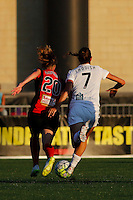 Rochester, NY - Saturday July 23, 2016: FC Kansas City midfielder Mandy Laddish (7), Western New York Flash midfielder Janice Cayman (20) during a regular season National Women's Soccer League (NWSL) match between the Western New York Flash and FC Kansas City at Rochester Rhinos Stadium.