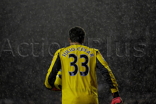 27.11.2012 Sunderland, England. QPR Keeper Julio Ceasar is framed by a wall of rain and threatening skies during the Premier League game between Sunderland and Queens Park Rangers at the Stadium of Light.