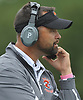 Mike Stanley, Carey varsity football head coach, watches the action during a Nassau County Conference II game against host Garden City High School on Saturday, Oct. 14, 2017.