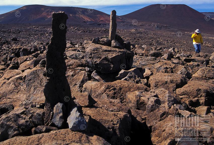 Hikers on the summit of Mauna Kea, Big Island of Hawaii