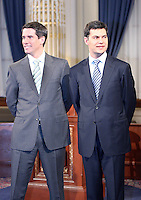 Quebec City, March 13, 2007 ? André Boisclair and Mario Dumont meet the press before the debate at National Assembly March 13, 2007. Just two weeks before the March 26 election, the debate could be a turning point.