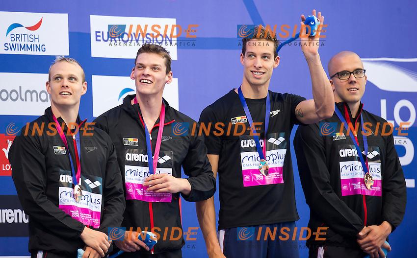 Team BEL bronze medal<br /> London, Queen Elizabeth II Olympic Park Pool <br /> LEN 2016 European Aquatics Elite Championships <br /> Swimming<br /> Men's 4x100m freestyle final <br /> Day 08 16-05-2016<br /> Photo Giorgio Perottino/Deepbluemedia/Insidefoto