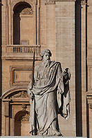 Statue of St. Paul outside of St. Peter's Basilica, at the Vatican, Rome, Italy