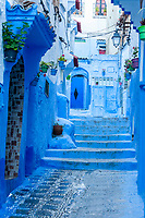 Chefchaouen, Morocco.  Street Scene, Leading to a House's Entrance.