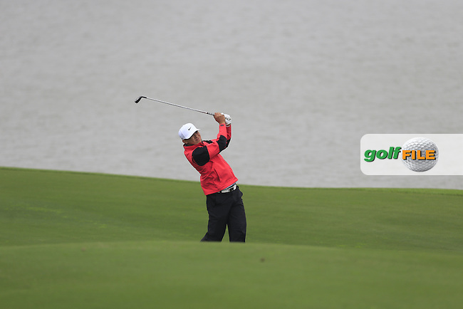 Chen Zi-hao (CHN) on the 18th fairway during Round 2 of the BMW Masters at Lake Malaren Golf Club in Boshan, Shanghai, China on Friday 13/11/15.<br /> Picture: Thos Caffrey | Golffile<br /> <br /> All photo usage must carry mandatory copyright credit (&copy; Golffile | Thos Caffrey)