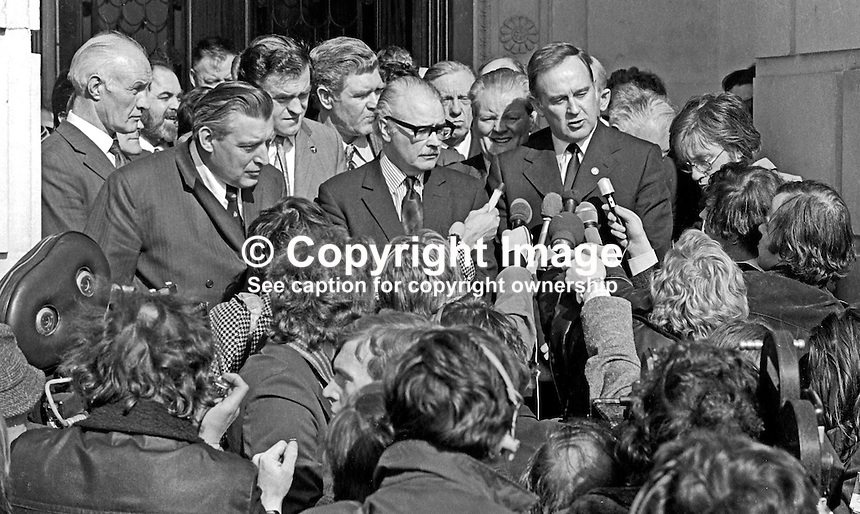 Members of an hoc group, the United Loyalist Front, outside Parliament Buildings, Stormont, Belfast, N Ireland, express their opposition to a UK Government White Paper proposing an 80 seat assembly elected by proportional representation, to waiting journalists and television camera crews. L to R are Rev Ian Paisley, Captain Lawrence P Orr and William Craig. 197303210142<br /> <br /> Copyright Image from Victor Patterson, 54 Dorchester Park, <br /> Belfast, UK, BT9 6RJ<br /> <br /> t1: +44 28 9066 1296 (from Rep of Ireland 048 9066 1296)<br /> t2: +44 28 9002 2446 (from Rep of Ireland 048 9002 2446)<br /> m: +44 7802 353836<br /> <br /> e1: victorpatterson@me.com<br /> e2: victorpatterson@gmail.com<br /> www.victorpatterson.com<br /> <br /> Please see my Terms and Conditions of Use at www.victorpatterson.com. It is IMPORTANT that you familiarise yourself with them.<br /> <br /> Images used on the Internet must be visibly watermarked i.e. &copy; Victor Patterson<br /> within the body of the image and copyright metadata must not be deleted. Images <br /> used on the Internet have a size restriction of 4kbs and will be chargeable at current<br />  NUJ rates unless agreed otherwise.<br /> <br /> This image is only available for the use of the download recipient i.e. television station, newspaper, magazine, book publisher, etc, and must not be passed on to any third <br /> party. It is also downloaded on condition that each and every usage is notified within 7 days to victorpatterson@me.com<br /> <br /> The right of Victor Patterson to be identified as the author is asserted in accordance with The Copyright Designs And Patents Act (1988).