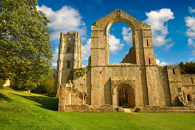 Ruins of Fountains Abbey , founded in 1132, is one of the largest and best preserved ruined Cistercian monasteries in England. The ruined monastery is a focal point of England's most important 18th century Water, the Studley Royal Water Garden which is a UNESCO World Heritage Site. Near Ripon, North Yorkshire, England