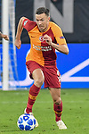 06.11.2018, Veltins-Arena, Gelsenkirchen, GER, CL, FC Schalke 04 vs Galatasaray Istanbul, DFL regulations prohibit any use of photographs as image sequences and/or quasi-video <br /> <br /> im Bild Martin Linnes (#14, Galatasaray) Aktion . Einzelbild . Freisteller . mit Ball <br /> <br /> Foto &copy; nordphoto/Mauelshagen