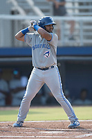 Bluefield Blue Jays Andres Guerra (17) at bat during a game against the Danville Braves at American Legion Post 325 Field on July 28, 2019 in Danville, Virginia. The Blue Jays defeated the Braves 9-7. (Tracy Proffitt/Four Seam Images)