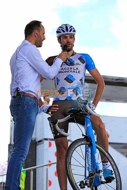 Ben Gastauer (LUX) AG2R La Mondiale with his fans at sign on in Mondorf-les-Bains before the start of Stage 4 of the 104th edition of the Tour de France 2017, running 207.5km from Mondorf-les-Bains, Luxembourg to Vittel, France. 4th July 2017.<br /> Picture: Eoin Clarke | Cyclefile<br /> <br /> <br /> All photos usage must carry mandatory copyright credit (&copy; Cyclefile | Eoin Clarke)