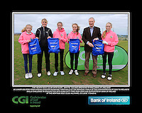 The Heath Golf Club Girls With Kate Wright CGI and Brendan Byrne Bank of Ireland.<br /> Junior golfers from across Leinster practicing their skills at the regional finals of the Dubai Duty Free Irish Open Skills Challenge supported by Bank of Ireland at the Heritage Golf Club, Killinard, Co Laois. 2/04/2016.<br /> Picture: Golffile | Fran Caffrey<br /> <br /> <br /> All photo usage must carry mandatory copyright credit (© Golffile | Fran Caffrey)
