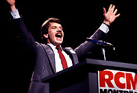 File Photo - Montreal Mayor Jean Dore <br /> speak at the RCM (Rassemblement des Citoyens de Montreal) convention, October 25, 1985.<br /> <br /> Dore has been told he as a terminal pancreas cancer and 3 weeks to live , this September 2014.<br /> <br /> File Photo : Agence Quebec Pressse  - Pierre Roussel