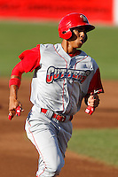 Williamsport Crosscutters outfielder Aaron Altherr #22 during the first game of a doubleheader against the Batavia Muckdogs at Dwyer Stadium on August 23, 2011 in Batavia, New York.  Batavia defeated Williamsport 2-1.  (Mike Janes/Four Seam Images)