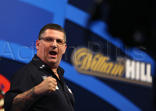 01.01.2017. Alexandra Palace, London, England. William Hill PDC World Darts Championship. Defending World Champion Gary Anderson punches the air the, as he beats Peter Wright 6 sets to 3, and seals his place in the Final