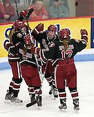 Kelsey Romatoski (Harvard - 5), Samantha Reber (Harvard - 12), ?, Kaitlin Spurling (Harvard - 17) - The Boston University Terriers defeated the Harvard University Crimson 5-2 on Monday, January 31, 2012, in the opening round of the 2012 Women's Beanpot at Walter Brown Arena in Boston, Massachusetts.