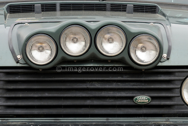 1st generation Range Rover featuring four additional spot lamps on its bonnet. Europe, England, UK. --- No releases available. Automotive trademarks are the property of the trademark holder, authorization may be needed for some uses.