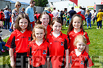 Fossa players who marched in the Coiste na nÓg 50th anniversary parade in Killarney on Sunday l-r: Sarah Louise Ahern, Naoise O'connor< Aoife \o'\keeffe, Tara O'Sullivan, Ann O Shaungnessy, Eve O'Halloran