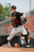 June 15 2007: David Patton of the Modesto Nuts pitches against the Rancho Cucamonga Quakes at The Epicenter in Rancho Cucamonga,CA.  Photo by Larry Goren/Four Seam Image