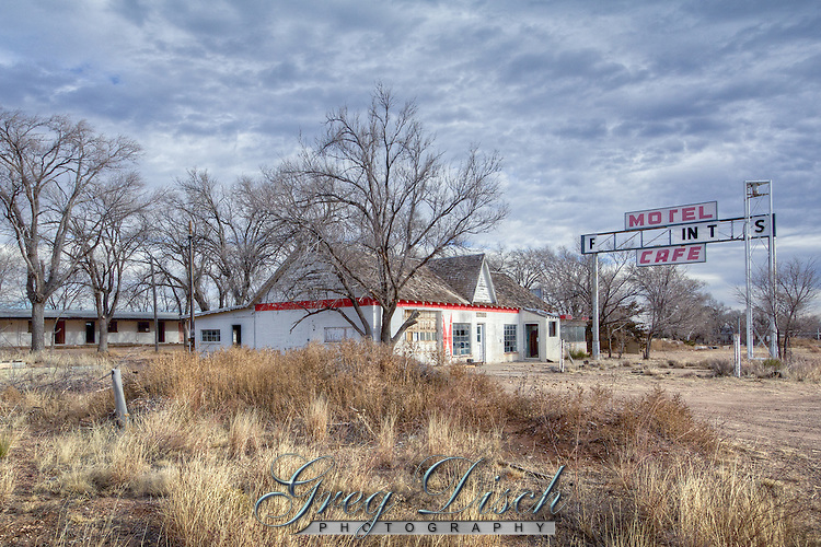 Old gas station and motel  in the Ghost Town of Glenrio Texas on Route 66.