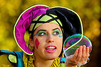 A costumed performer creates giant bubbles for visitors at the annual Carolina Renaissance Festival in November 2011. The annual Renaissance Festival and Fair takes place each October and November in Huntersville, NC, near Charlotte, NC.