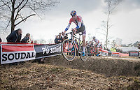 Mathieu Van der Poel (NED/Beobank-Corendon) jumping the ditch in the finale <br /> <br /> men's race<br /> CX Soudal Classics Leuven/Belgium 2017