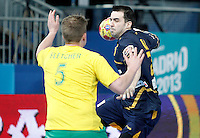 Spain's Carlos Ruesga Pasarin (r) and Australia's Tommy Fletcher during 23rd Men's Handball World Championship preliminary round match.January 15,2013. (ALTERPHOTOS/Acero) /NortePhoto