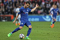Cesc Fabregas of Chelsea crosses the ball during the Premier League game between Swansea City v Chelsea at the Liberty Stadium, Swansea, Wales, UK. Saturday 28 April 2018