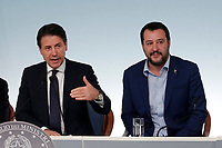 Giuseppe Conte e Matteo Salvini<br /> Roma 15/10/2018. Consiglio dei Ministri sulla Manovra Economica DEF.<br /> Rome October 15th 2018. Minister's Cabinet about the Economic and Financial Document.<br /> Foto Samantha Zucchi Insidefoto