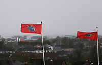 29th February 2020; Thomond Park, Limerick, Munster, Ireland; Guinness Pro 14 Rugby, Munster versus Scarlets; The Munster flag flies in a strong breeze ahead of kickoff