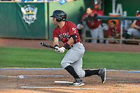 Luke Willis (1) of the Idaho Falls Chukars  follows through on his swing against the Ogden Raptors during the Pacific Coast League game at Smith's Ballpark on August 29, 2016 in Salt Lake City, Utah. The Chukars defeated the Raptors 3-0. (Stephen Smith/Four Seam Images)