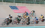 September 19, 2015 - Colorado Springs, Colorado, U.S. - Men's scratch race action during the USA Cycling Collegiate Track National Championships, United States Olympic Training Center Velodrome, Colorado Springs, Colorado.