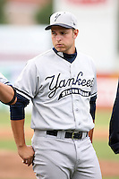 September 9 2008:  Taylor Grote of the Staten Island Yankees, Class-A affiliate of the NY Yankees, during Game One of the opening playoff series at Russell Diethrick Park in Jamestown, NY.  Photo by:  Mike Janes/Four Seam Images