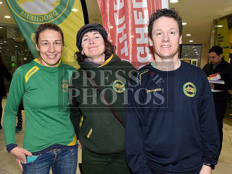 Rebecca Carolan, Marcella Joyce and Keith Byrne Boyne AC pictured at the launch of the 2016 Boyne 10K in the laurence Town Centre. Photo:Colin Bell/pressphotos.ie