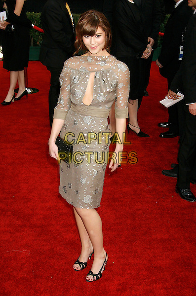 MARY ELIZABETH WINSTEAD.Red Carpet Arrivals - 13th Annual Screen Actors Guild (SAG) Awards, held at the Shrine Auditorium, Los Angeles, California, USA, 28 January 2007..full length grey beige floral patterned sheer dress black clutch bag shoes.CAP/ADM/RE.©Russ Elliot/AdMedia/Capital Pictures.