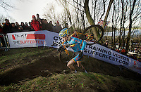 Wout Van Aert (BEL) conquering the steepest climb on the course<br /> <br /> 2014 UCI cyclo-cross World Championships, Men U23